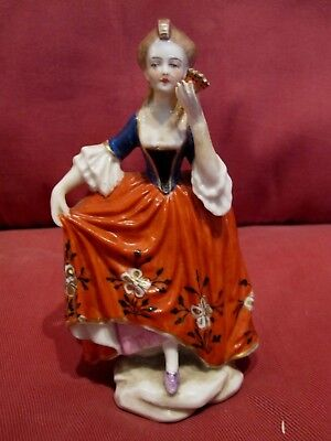 Lovely Antique 1800's Chelsea Gold Anchor Mark Lady Figurine