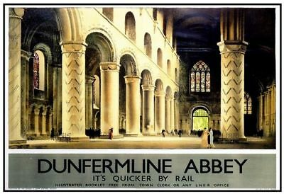 Vintage LNER St Andrews Abbey Railway Poster A3 A2  Reprint