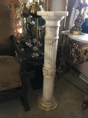Antique Carved Alabaster Marble pedestal stand