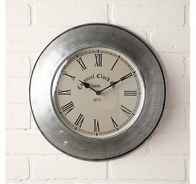 Irvin's Country Springhouse Wall Clock in Antique Polished Tin