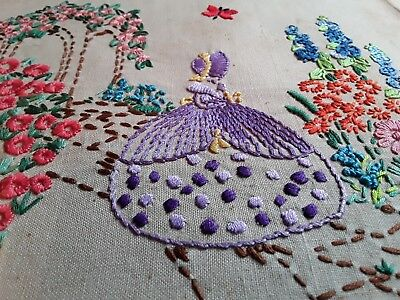 Vintage hand embroidered linen picture panel embroidery crinoline lady flowers