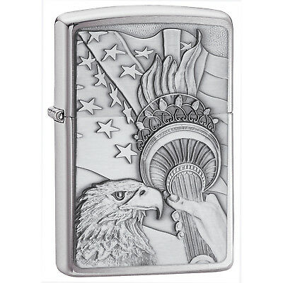 Zippo 20895 Something Patriotic Lighter Brushed Chrome