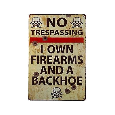 DL-Vintage Metal Gun Sign No Trespassing Firearms Sign-I Own Firearms And A B...