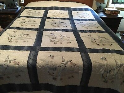 """Stunning Hand Quilted AND Embroidered Blue And White Bluebird Quilt 114x90"""""""