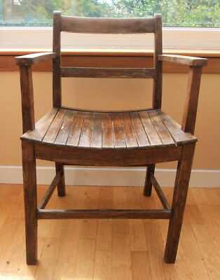 Antique Dark Oak Schoolhouse Armchair with Solid Slatted Wood Curved Seat c.1930