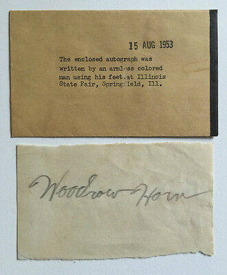 Woodrow Horn, Armless Sideshow Freak Autographed Pitch Item - 1953 IL State Fair