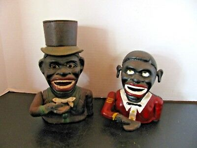 Vintage Pair of Folk Black Americana Cast Iron Coin Bank African American