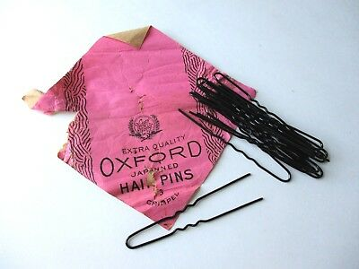 Womens Hair Pins Vtg 1940s Victory Works Oxford Japanned Crimped Advertising