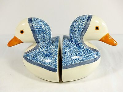 Old World Style Matching Pair Blue and White Geese Book Ends Old Country Charm