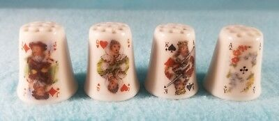 Set of 4 PLAYING CARD THIMBLES - King Queen Jack Ace