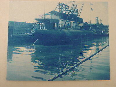 c. 1890 CYANOTYPE PHOTO of A SUBMARINE AT DOCK in NEW BEDFORD HARBOR