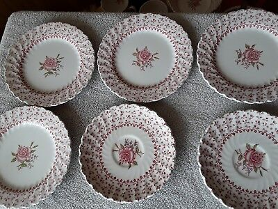 6 Johnson Bros. Rose Bouquet 6 1/4 Salad Plates used