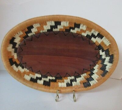 "African Hand Made Wood & Woven Flat Tray Basket  10.5"" x 6.5"""
