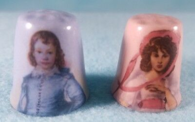 BLUE BOY and PINKIE GIRL Thimbles - Porcelain