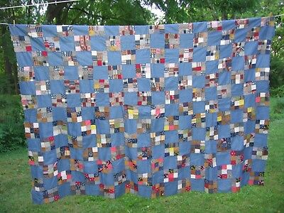 ~ Beautiful Cadet Blue ~ Nine Patch Quilt Top ~ Circa 1880-1910 ~