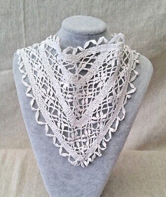 1930 Vintage Girls White Macrame Head Scarf