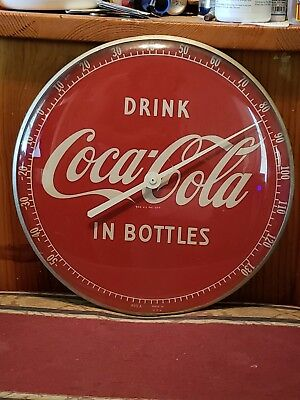 Vintage 1950s Drink Coca Cola In Bottles Thermometer Advertising Sign