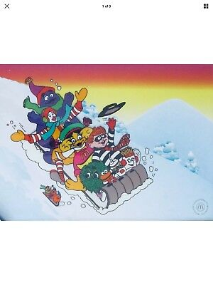 Ronald McDonald's 1998 Framed SLEIGH RIDE Sericel Animation Cel RARE COLLECTIBLE