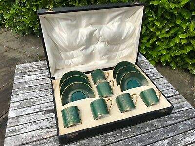Rosenthal China Espresso Coffee Set Green Gold Gilt Germany Bavaria - TO CLEAR