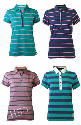 Ex Crew Clothing Ladies Striped Polo T- Shirt Top Pink Blue Turquoise 8 10 14