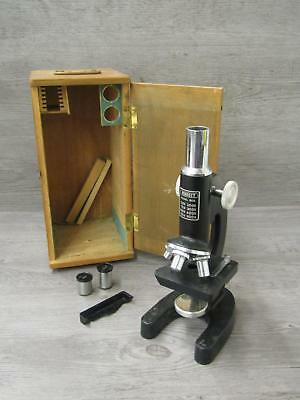Vintage Perfect Laboratory Microscope Model 805 In Original Wooden Box