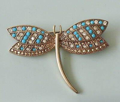 vintage signed  dragonfly brooch in silver tone metal with crystals & faux stone