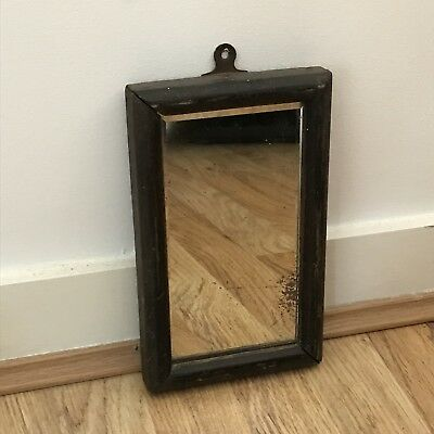 Antique Small Oak Framed Foxed Mirror