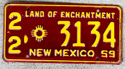 1959 Yellow on Maroon New Mexico License Plate #22 in Great Shape!
