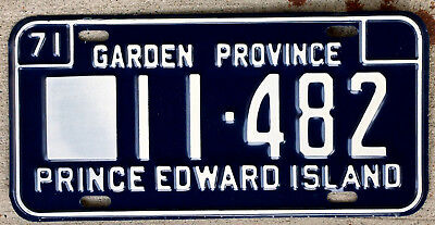 1971 White on Blue Prince Edward Island License Plate
