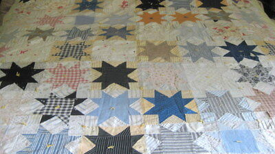 "Vintage 30s Feedsack Star Quilt Cutter Repair 79"" x 68"""
