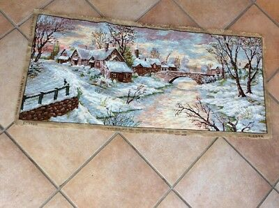 Lovely Winter English Scene Completed Tapestry. Excellent Condition.107 X 48 Cms