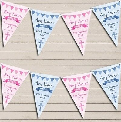 Blue Pink Boy Girl Twins Watercolour Banner Naming Day Christening Bunting