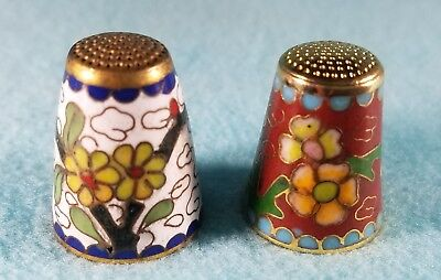 2 Cloisonne Thimbles - White and Red