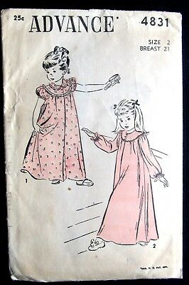 Vintage Advance Pattern #4831 - Girl's Size 2 Nightgowns - EXC