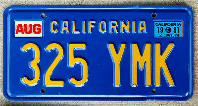 Famous Yellow on Blue California License Plate with a 1981 Sticker