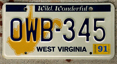 Nice West Virginia Yellow-Orange State Outline License Plate with a 1991 Sticker