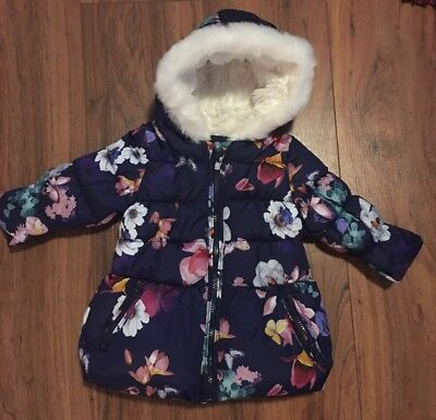 BNWOT M&S Navy Blue Floral Baby Girl Puff Coat Age 6-9m