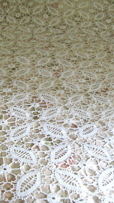 "Vintage Hand Crocheted  Bedspread 95"" X 134"""
