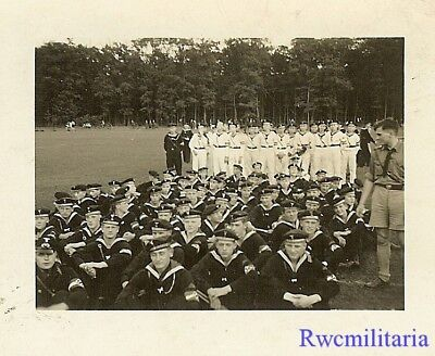 **RARE: Gathered German Teenage Uniformed Marine HJ Cadet Boys in Field!!!**