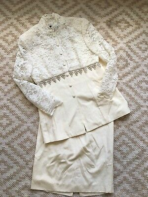 5a3159a9a21 Vtg Ursula Of Switzerland Mother Of The Bride Jacket Skirt Lace Bridal Dress  10