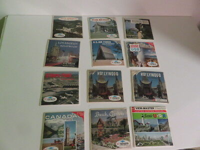 Viewmaster-12 Sets-Air Force-Ozark Mtns-Los Angeles-Hollywood-Canada-O'hare-More