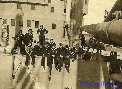 **RARE: Group German Teenage Uniformed Marine HJ Cadet Boys on Ship Deck!!!**
