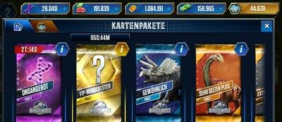 Jurassic World The Game Android/IOS 100 PACKS or VIP 100.000 Points
