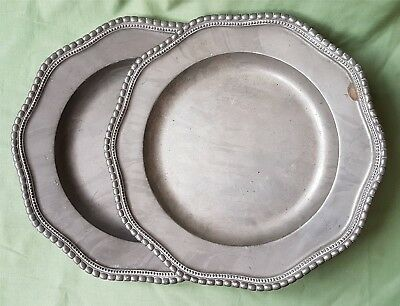 Pair of antique Pewter Plates with Angle markings