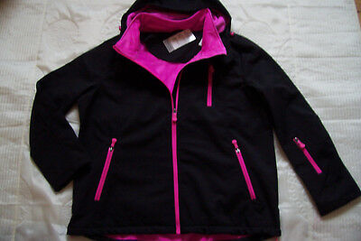 DAMEN OUTDOOR SOFTSHELL Jacke in schwarz+ pink , Gr. 46
