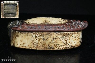 17th Century Engraved Horn Wood & Brass Snuff Box