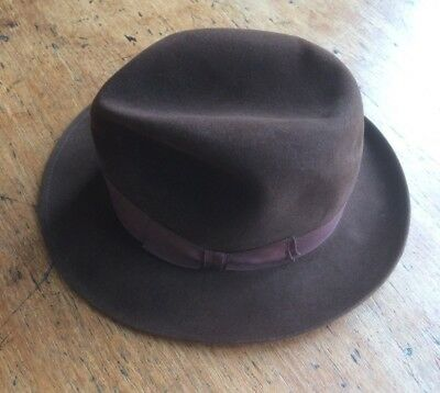 Vintage mens hat brown trilby 1930s 1940s 1950s 1960s G A Dunn & co Newlyn gents