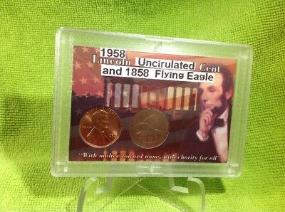 1958 Lincoln Cent Unc & 1858 Flying Eagle  In Whitman Holder