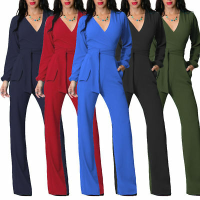 High Waist Womens Jumpsuit Evening Party V-neck Long Pants Rompers Zsell