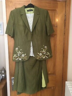 Jacques Vert designer skirt suit with cream lace Gray & Osbourn top